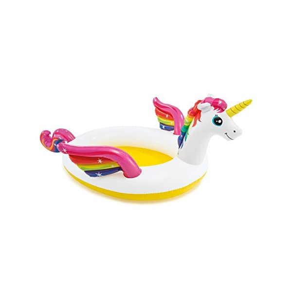 """Intex Mystic Unicorn Inflatable Spray Pool, 107"""" X 76"""" X 41"""", for Ages 2+ 3"""