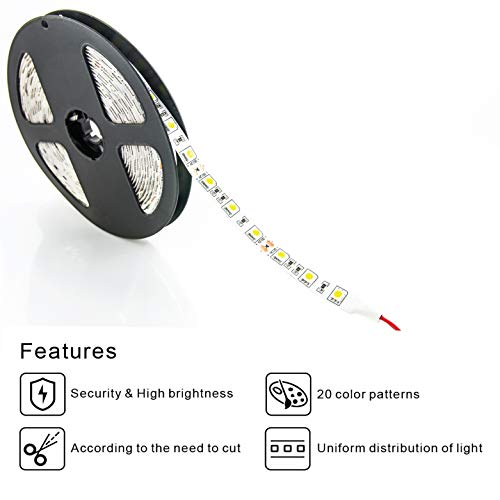 WBM Smart 300 LEDs Strip Lights 32 ft Colored Rope Kit with IR Remote for Room, Ceiling, Bedroom, Cupboard with Bright 5050, Strong 3M Adhesive Cutting Design, (2X5m), RGB (Red, Green, Blue)