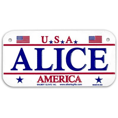 ALICE USA Bike Plate - Made in USA, 3x6 Embossed Aluminum