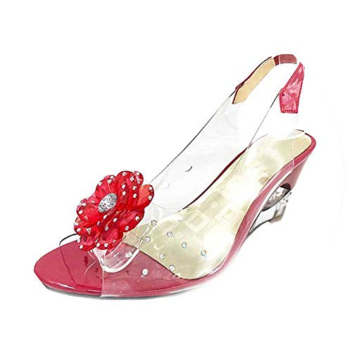 QIRONG Large Size 30-43 Fashion Rhinestone Flower Wedge High Heels Casual Jelly Shoes Woman Sandals Women's Shoes ()