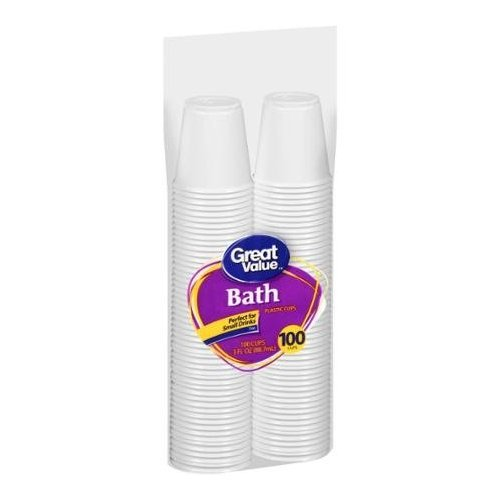 Bath Great Value 3 Oz White Plastic Cups, 100 Ct