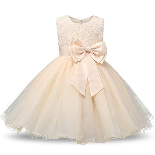 Flower Girl Dress for Wedding Baby 0-12 Years Birthday Outfits Children Girls First Communion Dresses Kids Party Wear,Yellow,8 ()