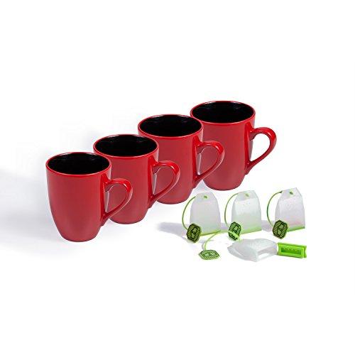 Ovenex 16 Oz Ceramic Mugs Set - 4 Pack - Including 4 Silicone Tea Infusers (Firebrick Red)