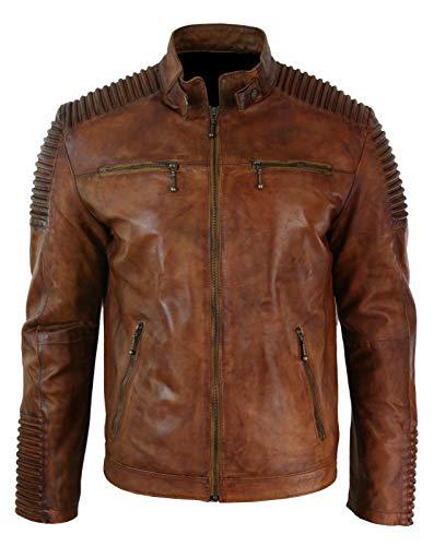ABz Leathers Mens Biker Vintage Motorcycle Cafe Racer Brown Distressed Leather Jacket (XL, Distressed Brown)