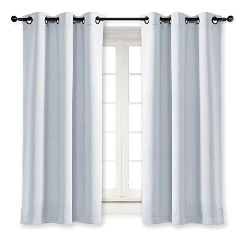 ing Window Treatment Curtain Energy Smart Thermal Insulated Block Out Sunlight Shade & Blind for Bedroom with Grommet Ring Top (Single Panel, 42 by 63, Platinum) ()