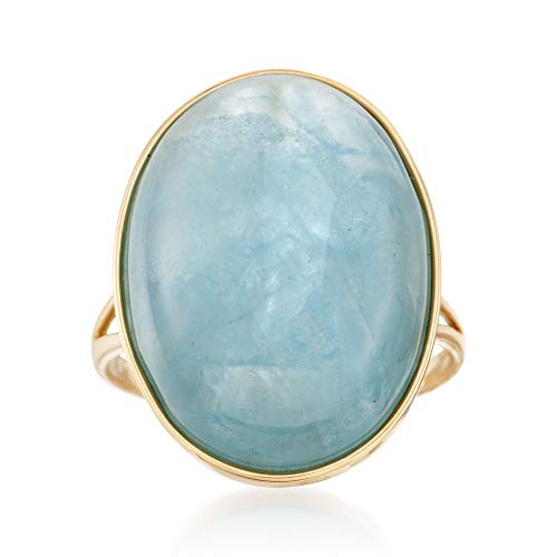 Ross-Simons 20x15mm Aquamarine Cabochon Ring in 14kt Yellow Gold