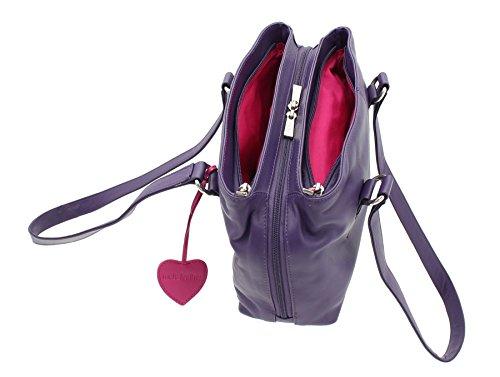 Cuero Triples Púrpura De Anishka Rojo Mala 75 Hombro Cremalleras 758 Colección Con Leather Bolso OwgZRzYq