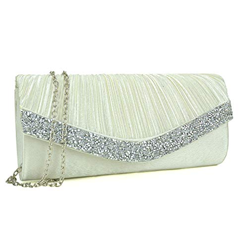 (Dasein Women's Satin Pleated Evening Bags Rhinestone Accented Flap Clutch Purses with Silver Chain Strap Ivory White)