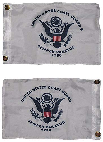 - ALBATROS 12 in x 18 in U.S. Coast Guard 2 Faced 2-ply Wind Resistant Flag 12 in x 18 in Inch Grommets for Home and Parades, Official Party, All Weather Indoors Outdoors