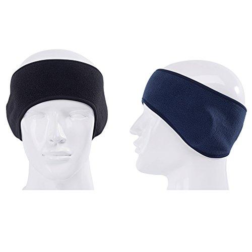 GoYonder Fleece Thermal Headbands Ear Warmers Black Navy