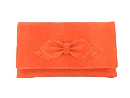 Gorgeous Faux Suede Bow Clutch/Bolso Bandolera de boda Prom Bolsa Tamaño Mediano naranja