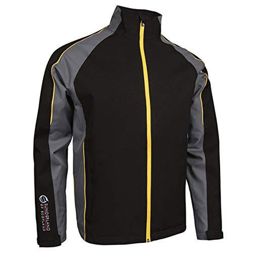 Sunderland Mens SUNMR17 Vancouver Waterproof Golf Jacket Black/Gunmetal/Energy Yellow L