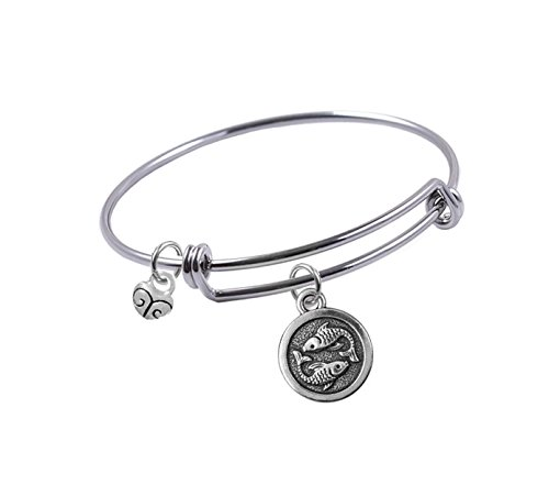 Expandable Bangle bracelet with Antique Silver-plated, Double Sided, Pisces Zodiac Sign and Small Heart charm, Qty:1
