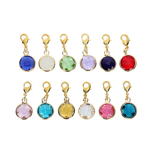1 Set Clip On Birthstone Dangle Charms 10mm Austrian Crystal Beads with Lobster Clasp (12 birthstone charms) #G-CCP5-GL