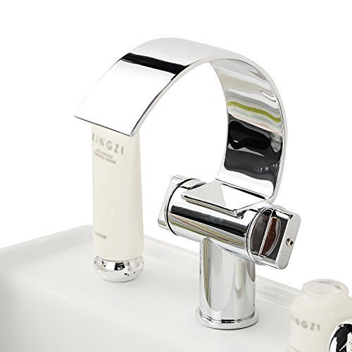 Bathroom Sink Faucet with Brass Chrome Finish Waterfall Curve Spout Contemporary Design Bathroom Sink Faucet, Kitchen Taps UK