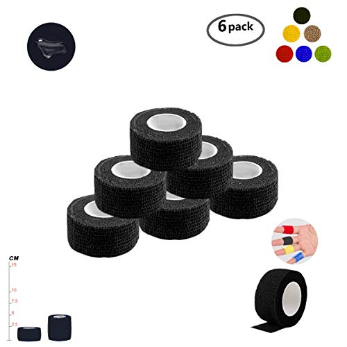 Self Adherent Wrap Tape Medical Cohesive Bandages Flexible Stretch Athletic Strong Elastic First Aid Tape for Sports Sprain Swelling and Soreness on Wrist and Ankle 6 Pack 1Inch X 5Yards(Black)