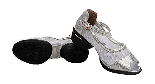 Womens Flash Mesh Soft Jazz Sandals Shoes Social Genuine Leather Shoes Silver 3uNdff