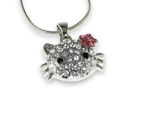 Shimmering Hello Kitty Pendant Silver Necklace Perfect Girl Children Awesome Shiny Serpentine Chain