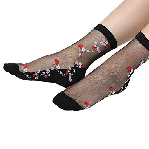 RoseSummer 1Pair Women Lace Socks Crystal Glass Silk Short Thin Transparent Plum Blossom (Blossom Socks)