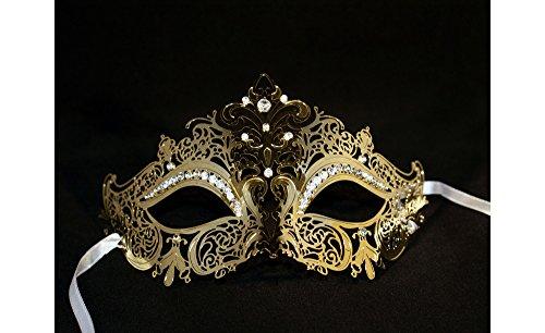 Yacanna Gold Crown Masquerade Masks Laser Cut Metal Venetian - Venetian Crown
