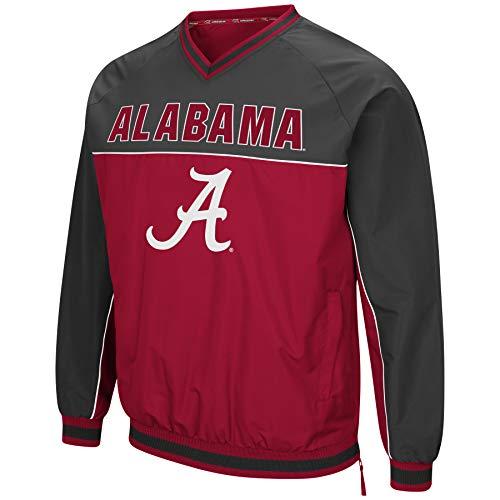 (Colosseum Men's NCAA Athletic V-Neck Windbreaker Pullover with Tackle Twill Embroidery-Alabama Crimson Tide-Crimson/Charcoal-XXL)
