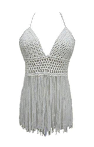 Fringe Bikini Halter Crop Top Handmade Crochet Swimsuit Summer Beachwear (Ivory)