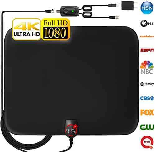 [Newest 2019] Amplified HD Digital TV Antenna Long 60-120 Miles Range – Support 4K 1080p and All Older TV's Indoor Powerful HDTV Amplifier Signal Booster - 18ft Coax Cable/USB Power Adapter