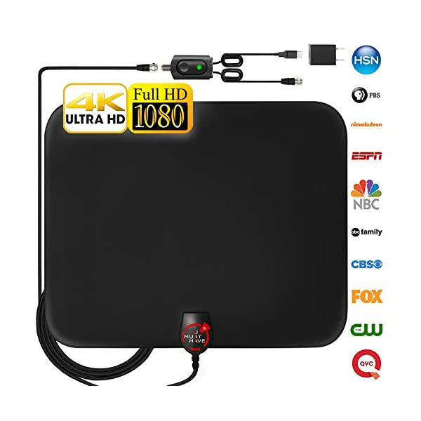 [Newest 2019] Amplified HD Digital TV Antenna Long 130 Miles Range – Support 4K 1080p and All Older TV's Indoor Powerful HDTV Amplifier Signal Booster - 18ft Coax Cable/USB Power Adapter