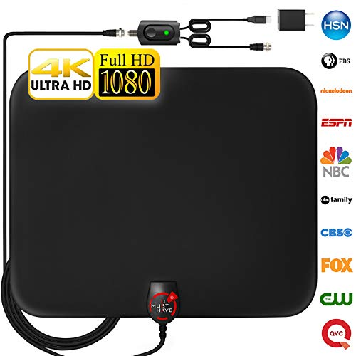 ied HD Digital TV Antenna Long 130 Miles Range – Support 4K 1080p and All Older TV's Indoor Powerful HDTV Amplifier Signal Booster - 18ft Coax Cable/USB Power Adapter ()