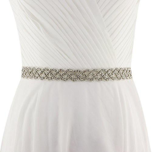 - Lovful Womens Crystal Rhinestone Beaded Satin Bridal Sash Chic Wedding Party Belt With Ribbon, Ivory