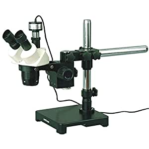 AmScope SW-3T24-PB Digital Trinocular Stereo Microscope, WH10x Eyepieces, 20X/40X Magnification, 2X/4X Objective, Black Single-Arm Boom Stand, Includes 0.3MP Camera with Reduction Lens and Software