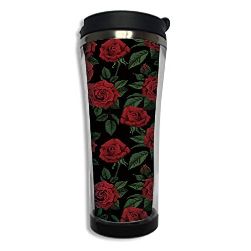 Customizable Travel Photo Mug with Lid - 8.45 OZ(250 ml) Stainless Steel Travel Tumbler, Makes a Great Gift by,Rose,Valentines Day Retro Style Petals with Leaves Ornamental Growth Pattern,Ruby Hunter