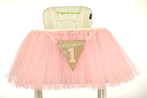 First Chair (Originals Group 1st Birthday Baby pink Tutu Skirt for High Chair Decoration for Party Supplies)