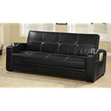 Black Faux Leather Sofa Bed w/ White Stitching by Coaster