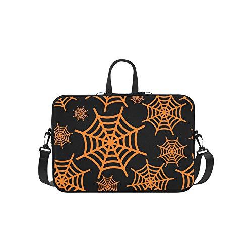 Orange Halloween Cobweb Flat Briefcase Laptop Bag Messenger Shoulder Work Bag Crossbody Handbag for Business Travelling -