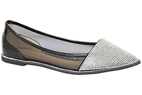New Womens Ballerina Dolly Pumps Ladies Flat Diamante Mesh Party Sandals Shoes Black 0xCpvCzeXN