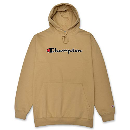Champion Mens Big and Tall Pullover Sweatshirt with Embroidered Script Logo Khaki 4XT