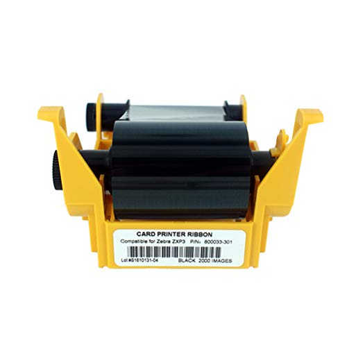 800033-301 Black Monochrome Ribbon, ZXP3 Ribbon, Resin Black Ribbon for Zebra ZXP Series 3 ZXP3 Card Printers, 2000 - Monochrome Resin Ribbon