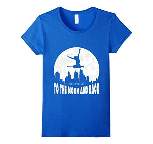 Women's Pogo Stick Rider's T-Shirt - Bounce To The Moon And Back Large Royal (Pogo Moon Stick)