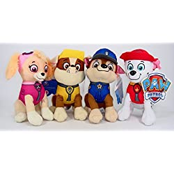 "Nickelodeon Paw Patrol Plush Pup Pal 4 Pcs Character Plush Set Marshall Chase Rubble Skye 8"" Plush Doll"