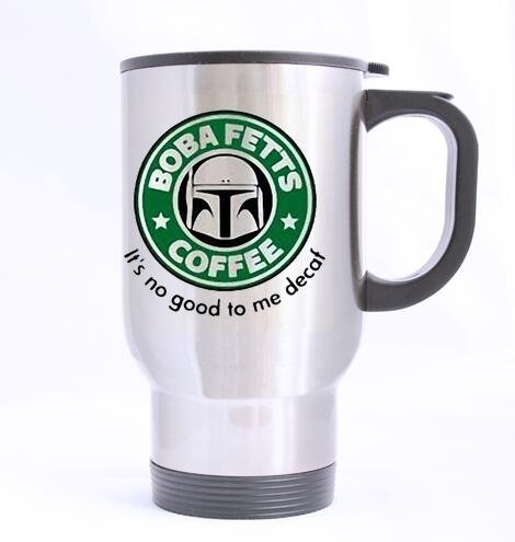 Funny Stainless Steel Travel Mugs Nice Boba Fett's Coffee Office Cups, Funny Gift for Women Men Kids Mom Dad Friends, 14 Ounce -