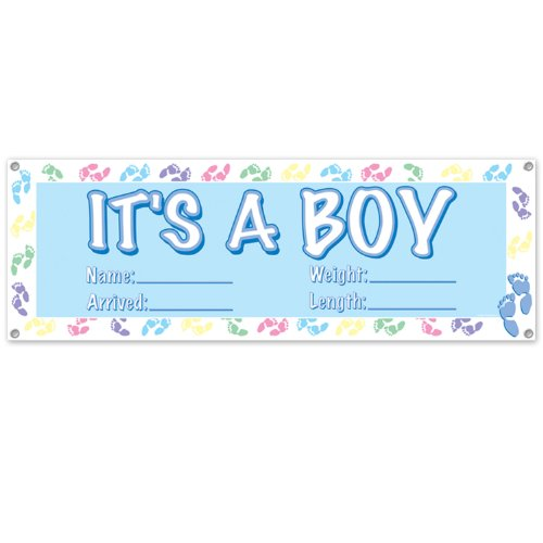 Beistle 50178 It's a Boy Sign Banner, 5-Feet