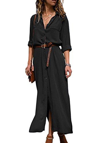HOTAPEI Womens Button Down Collar Roll up Sleeve Casual Long Maxi Dresses Split Shirt Dress