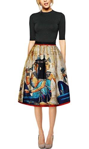 Pretty321 Women Girl 3D Retro Mural Vintage Zipper Pleated Midi Knee High Skirt Amazon