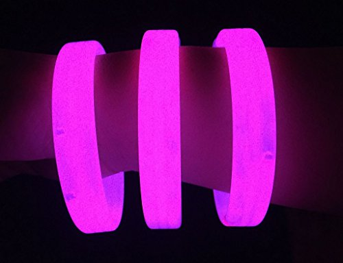 "Glow Sticks Bulk Wholesale Wristbands, 25 9"" Pink Triple-wide Glow Bracelets, Bright Color, Glow 8-12 Hrs, 25 Connectors Included, Glow Party Favors Supplies, Sturdy Packaging, GlowWithUs Brand"