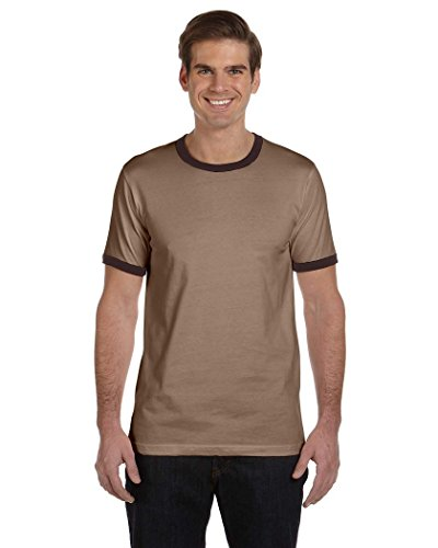 Brown Ringer Mens (Bella + Canvas Men's Jersey Short-Sleeve Ringer T-Shirt (3055C)- HEATHER BROWN/BROWN,2XL)