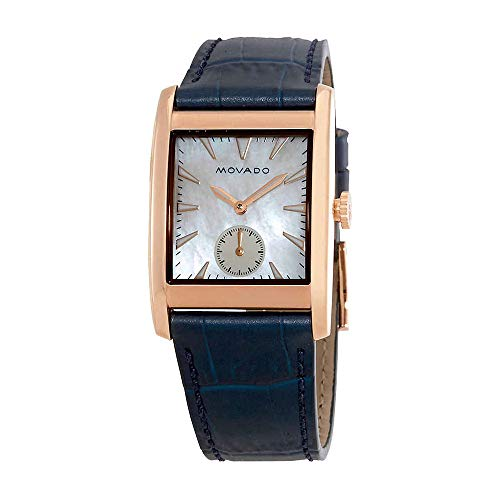 Movado Women's Heritage Stainless Steel Swiss-Quartz Watch with Leather-Crocodile Strap, Blue, 27.4 (Model: ()