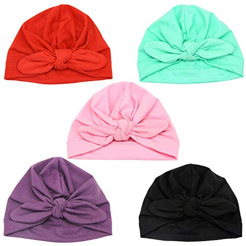 DRESHOW BQUBO 5 Pieces Baby Turban Hats Turban Bun Knot Baby Infant Beanie Baby Girl Soft Cute Toddler Cap (5 Pack Bow C / 0-6 Month A) (Is Knot A Garden What)