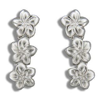 - Silver 3 Dangling Plumeria Flower Stud Pierce Earrings