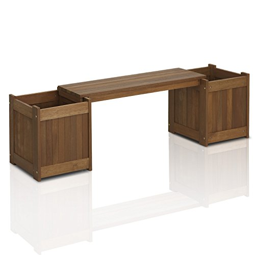 - Furinno FG16011 Tioman Patio Furniture Hardwood Planter Box in Teak Oil